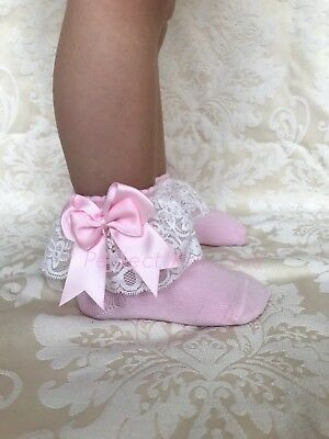 Lacey Ankle Spanish/Romany Double Bow Socks With Lace Baby/Girls/Flower Girl