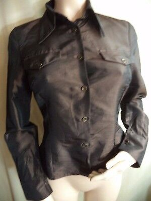 Giorgia and Johns Italy Designer Blouse Brown Satiny Poly 2 Pockets Size M VGC