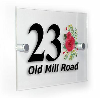 Roses Classic Style Custom House Door Number Sign Plaque