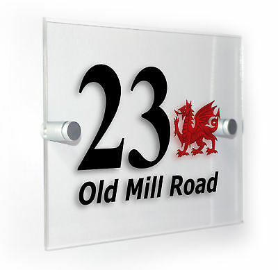 Wales Welsh Dragon Classic Style Custom House Door Number Sign Plaque