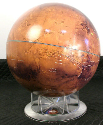 REPLOGLE 12 inch Mars Globe by Sky and Telescope from 2000 w/ Landing Sites