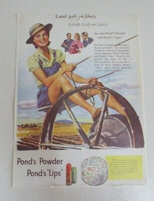 Vintage Pond's Powder and Lips - WWII Advertisement - Australia - Reproduction