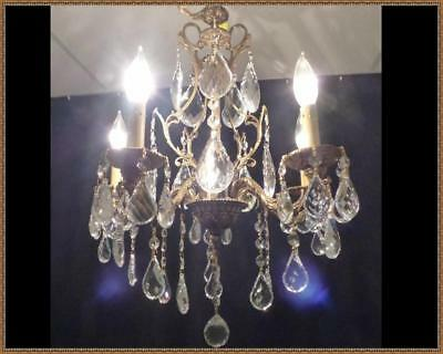 Vintage Antique French Brass Chandelier Superb Leaded Crystals Rare Beauty LQQK!