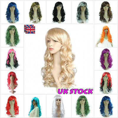 UK Ladies Womens Fancy Dress Wig Long Wavy Curly Hair Party Anime Stylish Wigs