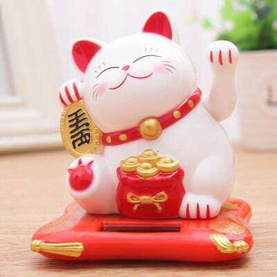 Feng Shui  Chinese Lucky Waving Gold Cat Figure Moving Arm in Colourful Box