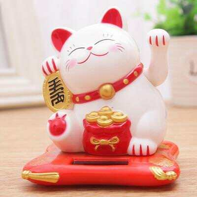 Feng Shui New Chinese Lucky Waving Gold Cat Figure Moving Arm in Colourful Box&