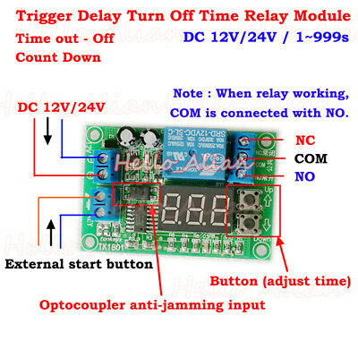 DC 12V 24V Digital LED Trigger Countdown Timing Delay Turn Off Time Relay Switch