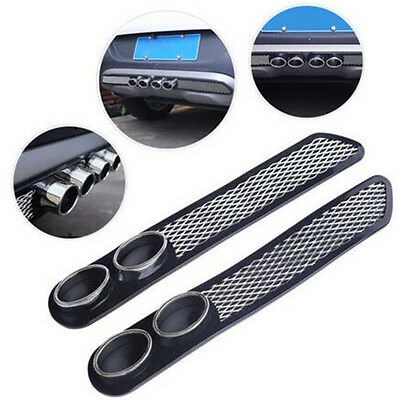 Car Simulation Grid Chrome Exhaust Tip Tail Pipe Rear Bumper Fender Decoration