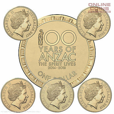 THE SPIRIT LIVES ANZAC 2014, 2015, 2016, 2017 & 2018 $1  - 5 Coins Uncirculated