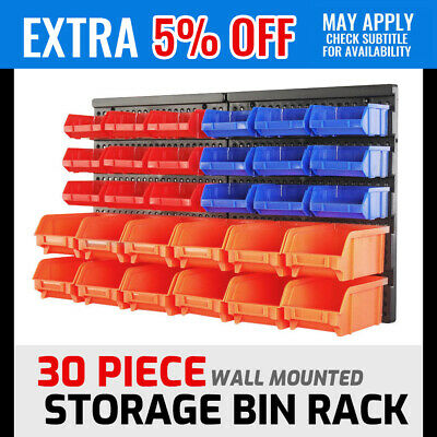 30 Wall Mounted Storage Bin Rack Workshop Parts Nuts Bolts Organizer Containers