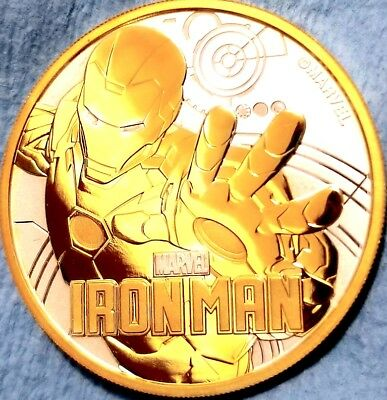 2018 1 oz Tuvalu Iron Man Marvel Series Silver Coin , 24k Gold Gilded