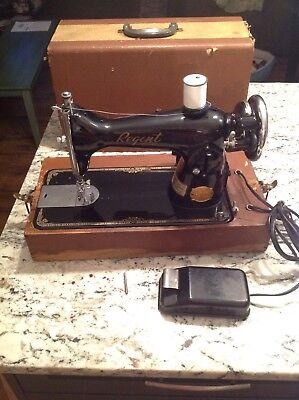 Regent Deluxe Sewing Machine Delco General Motors Tested Works Foot Pedal & Case