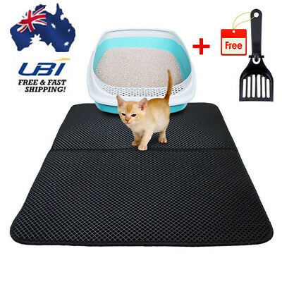 Pet Cat Litter Trapping Mat Double Layer Honeycomb Design Foldable Pad + Shovel