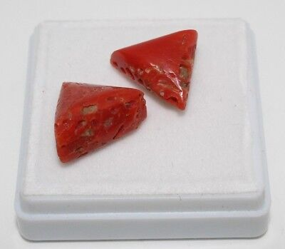 16.15 Cts genuine Vintage Undyed Natural Med RED Coral Cabs 2 Pieces looes