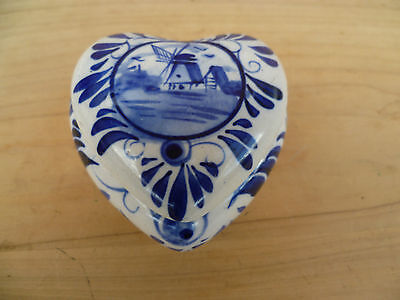 Vintage Old Blue & White Heart Shaped Box, Old Box