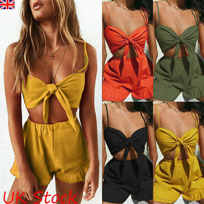 Womens Ladies 2Pcs Lace Up Crop Tops Shorts Pants Co Ord Set Beach Party Suit
