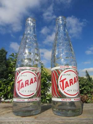 "1960's Circa Two 8 Fluid Ounces Tarax Bottles ""Drink Tarax Icy Cold"""