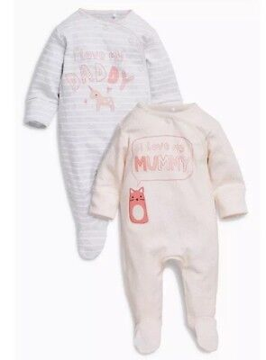 ⭐️bnwt⭐️ Next Baby Girl Sleepsuits Babygrow Two Pack Daddy Mummy Newborn 0-1