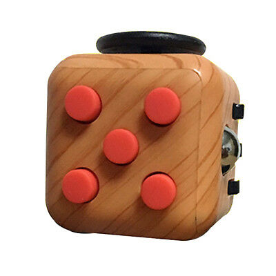 Fidget Magic Cube Anxiety Stress Relief Focus Adults Kids Attention Therapy WOOD