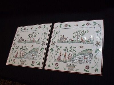 "Pretty Matched Pair Of 8"" Germany Folk Art Porcelain Wall Tiles"