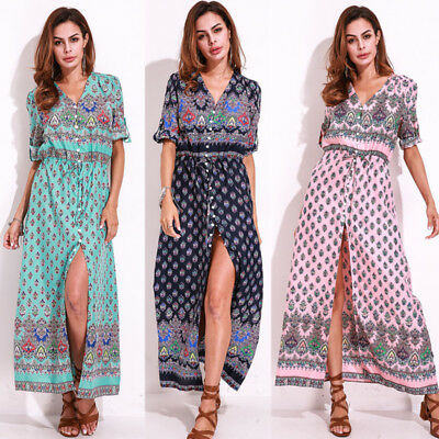 Vintage Women Lace Up V Neck Sundress Party Cocktail Boho Floral Long Maxi Dress