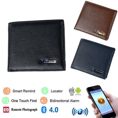 Genuine Leather Bluetooth Anti-Lost Smart Wallet Holder Alarm Tracker Locator