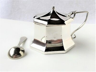 Sterling Silver Octagonal Mustard Pot, Liner and Spoon - 1918 - A.J.Zimmerman