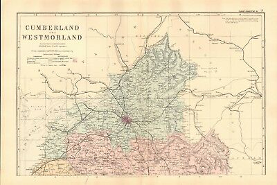 1891 Antique Map - Cumberland And Westmorland, North And South, 2 Maps