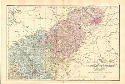 1891 Antique Map - Northamptonshire, North And South, 2 Maps