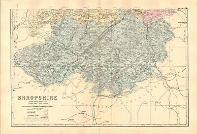 1891 Antique Map - Shropshire, North And South, 2 Maps