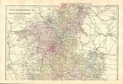 1891 Antique Map - Worcestershire & Gloucestershire, North And South, 2 Maps