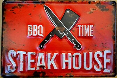Blechschild BBQ Grill Steak House Smoker Schild Steakhouse Metallschild