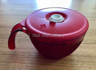 Tupperware Heat N Eat Vent N Serve Soup Mug With Handle Red & White