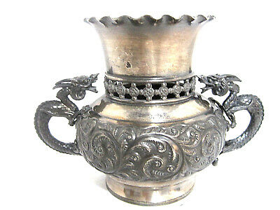 *old* Petite Vintage Derby Silverplate Urn Dragon Gargoyle Handles Antique Vase