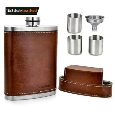 8 Oz Pocket Hip Flask  Container Stainless Steel w/Leather Wrapped Funnel