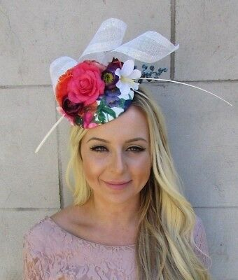White Purple Hot Pink Blue Vintage Floral Flower Feather Hat Fascinator 5805