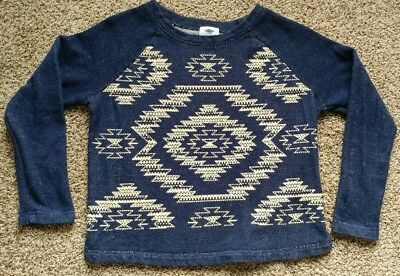 Old Navy Sweatshirt Shirt Top Navy Blue White Aztec Tribal French Terry Sz Small