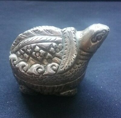 Vintage Sterling Silver Turtle pill box Container stamped 925