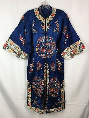 Vtg Antique Quality Heavily Embroidered Kimono Navy Blue Silk Or Satin Lined