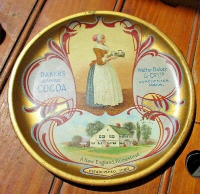 Antique Walter Bakers Cocoa Advertising Tip Tray Original