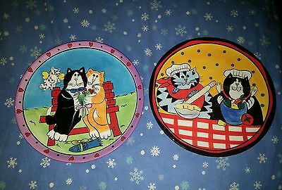 2 Catzilla Candace Reiter henriksen Plate romantic valentine love cook bake cats
