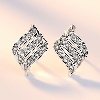 925 Sterling Silver Crystal Angel Wing Stud Earrings For Women Wedding Jewelry