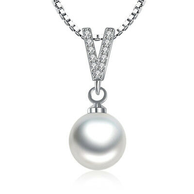 925 Sterling Silver Crystal V Shape Pearl Pendant Necklace For Women Jewelry