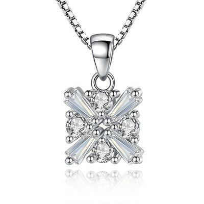 925 Sterling Silver Crystal Zircon Square Pendant Necklace For Women Jewelry