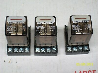 *LOT OF 3* RL 200024 SCHRACK RELAY with SOCKET BASE RLY9113