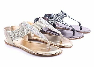 357689098095 BAMBOO 2 Color Rhinestones Slip On Only Strappy Sexy T-Strap Womens Sandals