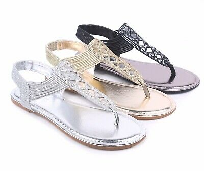 0c2464a89c93 BAMBOO 3 Color Rhinestones Slip On Only Strappy Sexy T-Strap Women Sandals  Flats