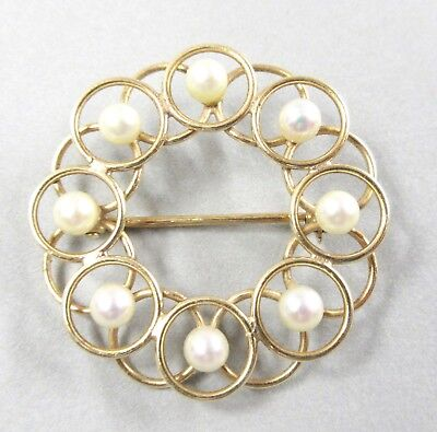 14k Yellow Gold Women's Pearl Pin Brooch 4.6gr Estate Classic