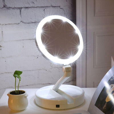 Portable Folding 10x Magnifying LED Light Up Double Side Makeup Mirror Tabletop