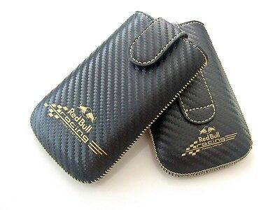 RED BULL iPhone 3/3GS 4/4S Pull-Tab Schwarz Carbon Leder Tasche Cover Schale